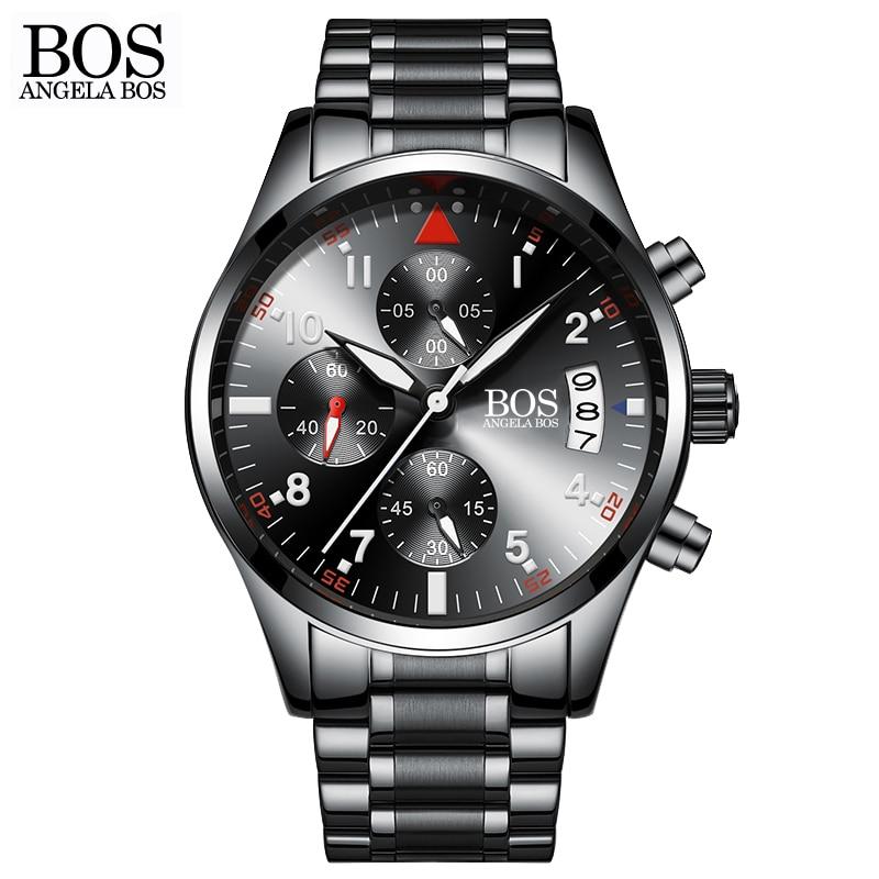 ANGELA BOS Chronograph Timer Fashion Sport Watch Men Quartz Watches Calendar Date Stainless Steel Wristwatches Top brand Luxury<br>