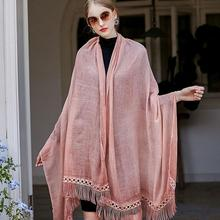 Senza Fretta Women Solid Color Cotton Linen Scarves With Lace Lady Spring Autumn Thin Silk Scarf Shawl Wrap 2017 New PSH4230(China)