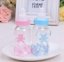 Free Shipping 24PC Blue Pink Baby Shower Favors Baby Nipple Feeding Bottle Candy Box Party Birthday Party Kids Decoration