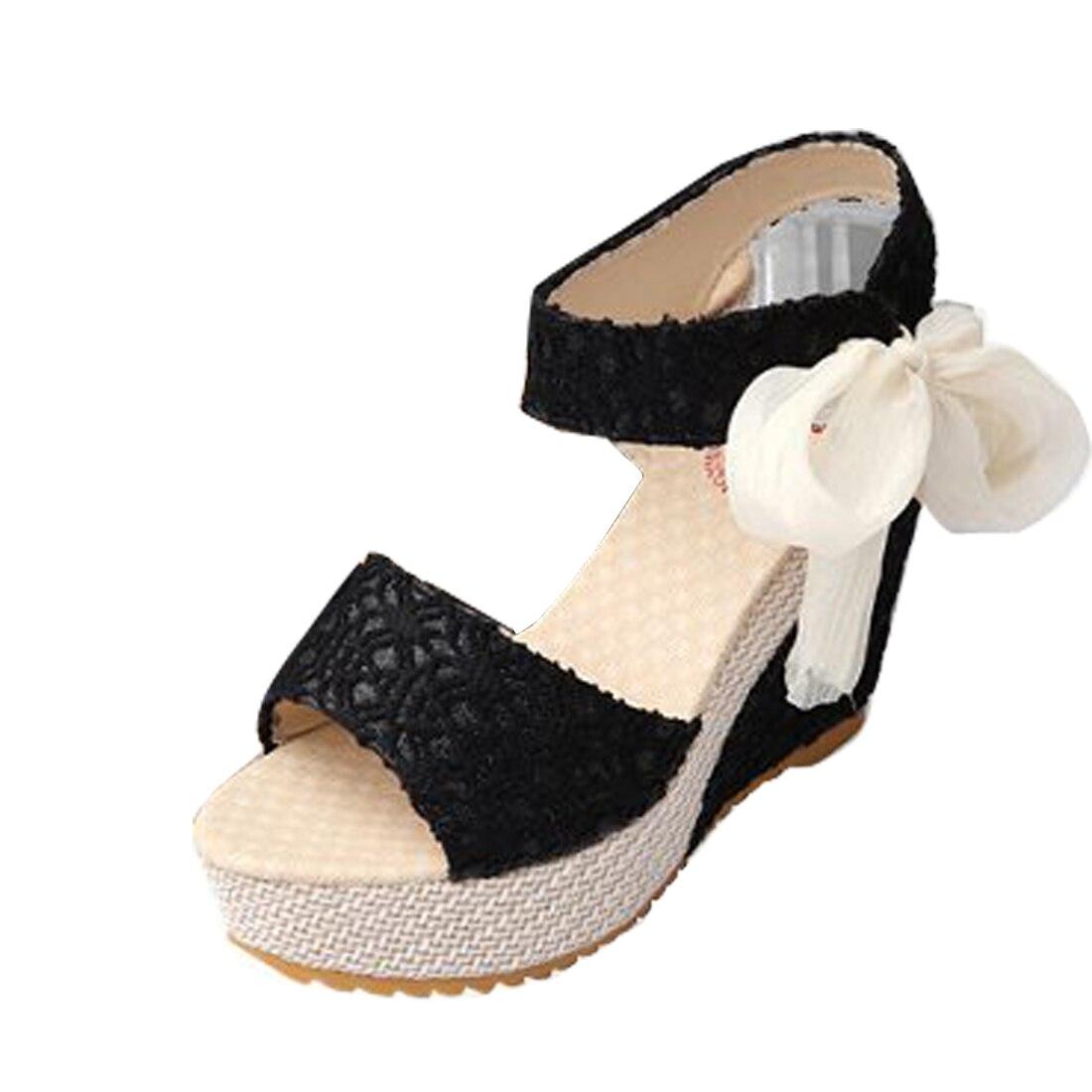 Fashion Women Sandals Summer Wedges Womens Sandals Platform Lace Belt Bow Flip Flops open toe high-heeled Women shoes Female<br><br>Aliexpress