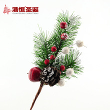 1Pcs Artificial Simulation Decoration Flowers Branch Foam Red Fruit Pinecone Pine Needle Home Party Christmas Tree Ornament(China)
