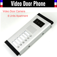 6 Units Apartment Video Door Phone Camera Intercom IR Night Vision Doorbell for 6 Units Apartment Suitable 6-Stories Building