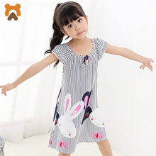 2017 Girls Princess Nightgowns Short Sleeve Striped Modal Nightdress Girls Knitted Pajamas Sleepwear Kids Girl Nightgown Factory