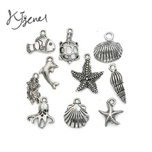 Mixed Tibetan Silver Plated Ocean Hippocampus Turtle Shells Fish Charms Pendants Jewelry Making Diy Accessories Handmade M020(China)
