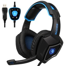SADES Spirit Wolf 7.1 Surround Sound Stereo USB Gaming Headphone with Mic Breathing LED Light For PC Gamers (Blackblue)