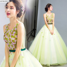2017 new arrival stock maternity plus size bridal gown ball gown green long engagement social flower gala hot evening dress 0229(China)