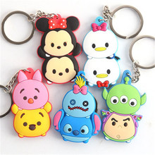 Hot Cartoon Tsum Tsum Stitch Captain America Duck Mouse Bear Big Eyes PVC Keychain Keyring Pendant Toys Anime Doll Gift