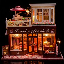 Doll House Include Dust Cover  Large cafe Miniature Wooden Dollhouse Furniture Model Toys Christmas Birthday Gift  Meet Happy