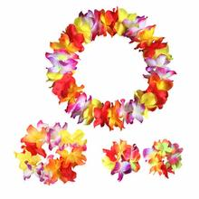4pcs Hawaii Flower Festival Luau Beach Party Garland Necklace Headband Headpiece Bracelet Bangle Set(China)