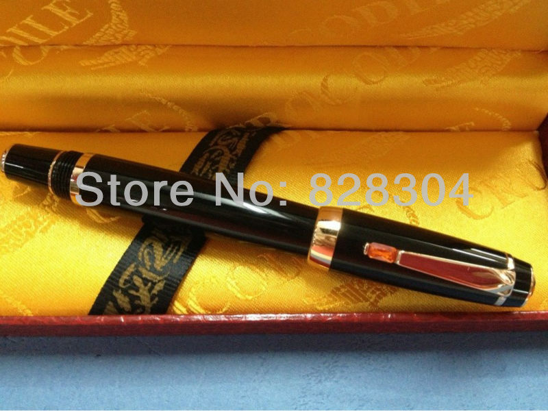 high quality black crocodile Roller Pen nib ruby gift box  Office writing gift pen  free shipping <br>