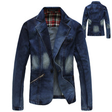 2013 Autumn  Fashion Men's Slim Fit Blue Denim Jacket , Casual Suit Collar Coats , Business Jean Blazer , Formal Blazers For Men