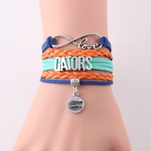 Little MingLou Infinity Love Florida Gators bracelet NCAA Sports Team charm bracelets & bangeles for women men leather jewelry