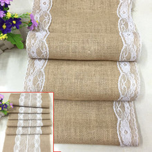 Vintage Burlap Jute Linen Table Runner Lace Cloth Dinning Room Table Gadget Home Decor Accessory J2Y(China)