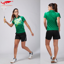 Free shipping 2017 Quick dry table tennis clothing woman badminton shirt and shorts are table tennis clothes print table tennis(China)