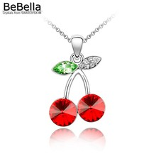 BeBella red fruity cherry pendant necklace made with Austrian crystals from Swarovski for women 2017 women gift