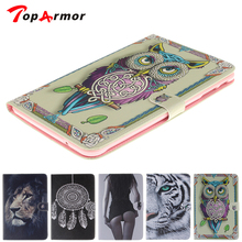 TopArmor Tablet Cover Case For Samsung GALAXY Tab E 9.6 T560 SM -T560 Sexy Girl Tiger Lion Owl Painted cover with Card Holder