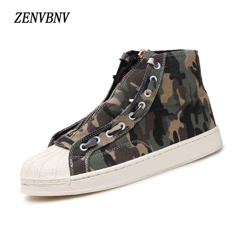 ZENVBNV 2017 New Mens Casual Shoes Man Flats Breathable Mens Fashion Outdoor Shoes Mens Camouflag Canvas Shoes High Top Shoes
