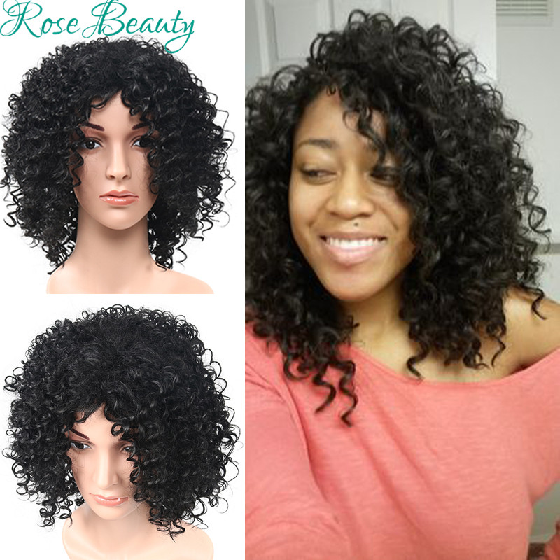 Cheap Wigs None Lace Machine Made Afro deep Curly Wig Synthetic Hair Heat Resistent Black Short Synthetic Wig for Black Women<br><br>Aliexpress