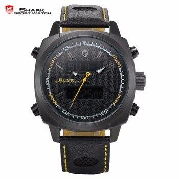 Silvertip shark relojes deportivos marca negro completo digital luz fecha alarma cronógrafo de cuarzo correa de cuero relojes para hombre/sh494