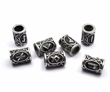Top Silver Norse Viking Runes Charms Beads Findings for Bracelets for Pendant Necklace DIY for beard or hair Real Photoes