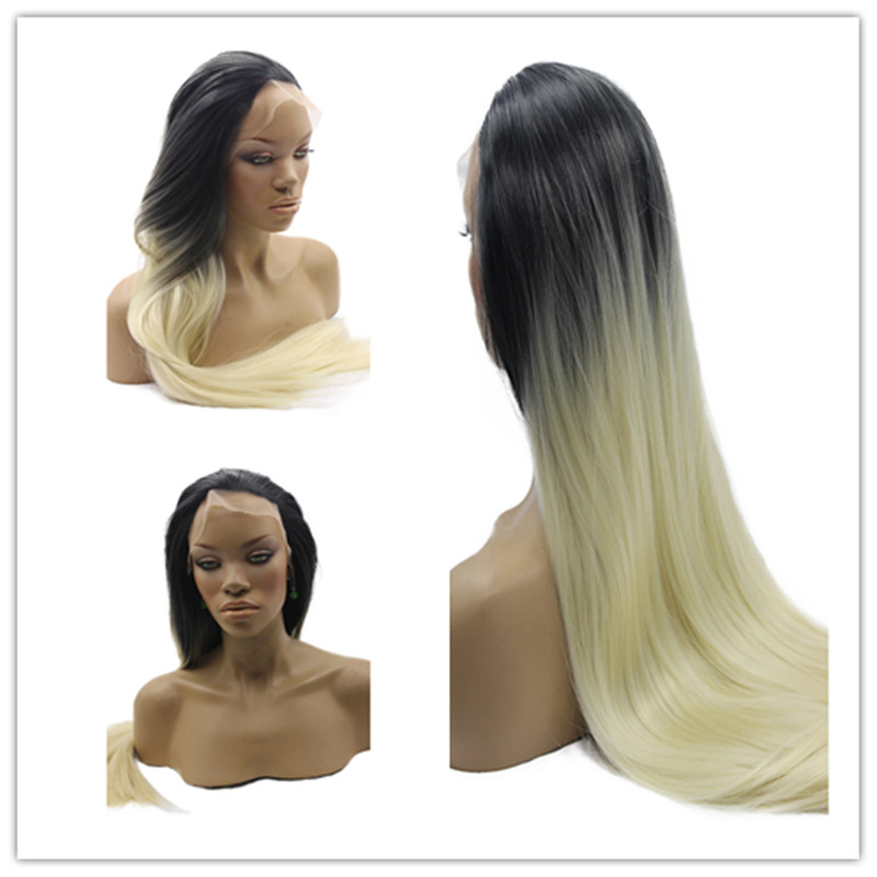 Free Shipping Hot Sale Heat Resistant Wigs Ombre Straight Black to Blonde Synthetic Lace Front Wigs for Black Women<br><br>Aliexpress