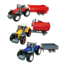 4pcs/set Alloy Engineering Car Tractor Toy Model Farm Vehicle Belt Boy Toy Car Model Children's Day Xmas Gifts For Baby Kids Toy(China)