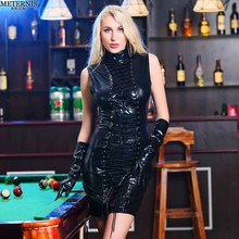 Buy METERNIS black leather sexy lingerie women baby doll hot hollow babydoll nightclub erotic lingerie pole dance sexy costumes 595