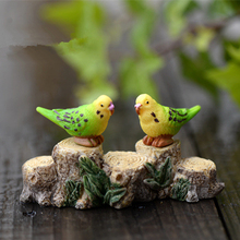 2Pcs Brids parrots 3cm kawaii fairy garden miniatures mini gnomes moss terrariums resin crafts figurines for garden decoration