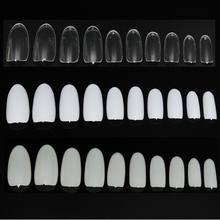 500pcs/pack 10 Size Full Cover Transparent Natural White Nail Art False Tips Japanese-style Round Oval Acrylic Gel Manicure Tool