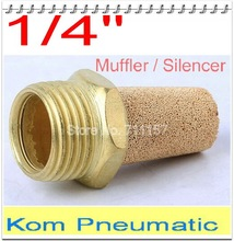 "10pcs in lot Pneumatic Brass Exhaust Muffler 1/4 Inch BSP 1/4"" Silencer Fitting BSL-02 Noise Filter Reducer Connector(China)"