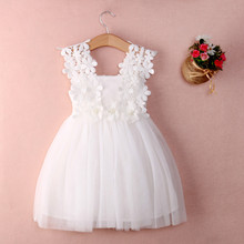 New XMAS Baby Girls Party Lace Tulle Flower Gown Fancy Dridesmaid Dress Sundress Girls Dress(China)