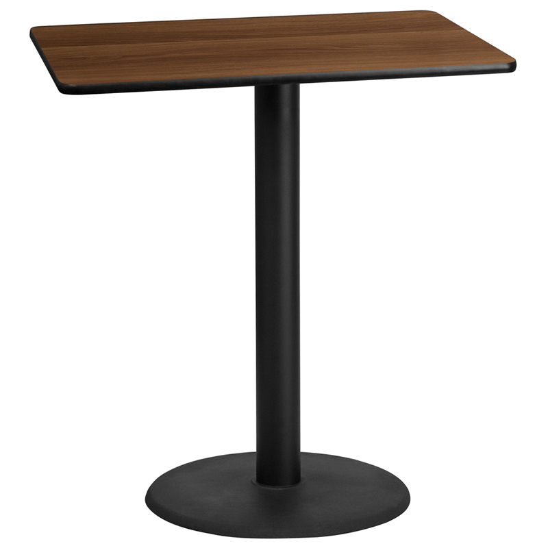 30\'\'X42\'\'Rectangular Walnut Laminate Table Top W/24\'\'Round Bar Height Table Base