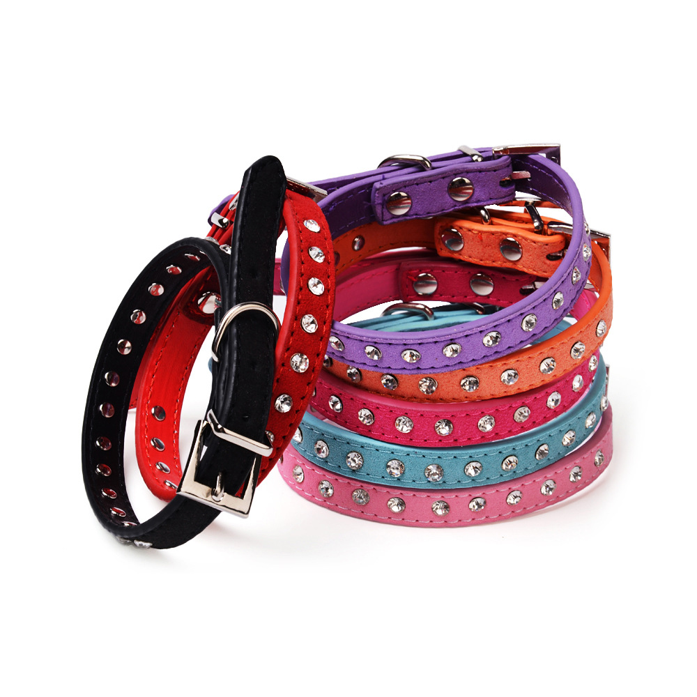 Factory hot crystal diamond dog collar 7 color cashmere pet collar dog spot chain in Yiwu(China (Mainland))