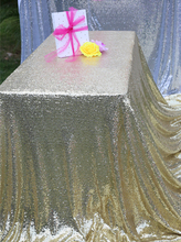 "Sequin Tablecloth Wedding Cake Tablecloth ,Rectangle /square Sequins Table Linen , wedding sequin table linens 50""X50""Light Gold"