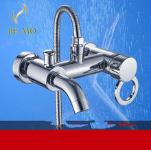 2 water outlet shower faucet set with hand shower mixer tap faucet chrome brass shower valve single handle mixer tap N8110(China)