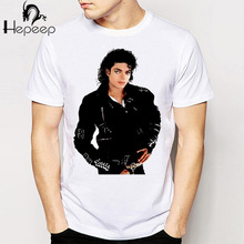 Track Ship+New Vintage Retro Cool Rock&Roll Punk T-shirt Top Tee you remember Michael Jackson black leather styling