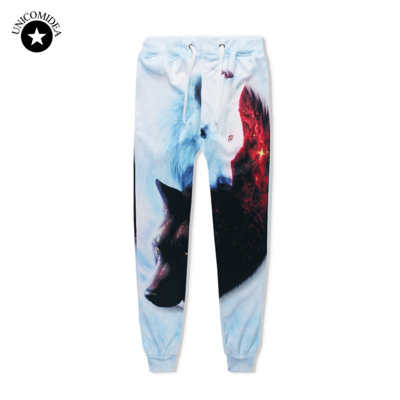 Unicomidea Mens Clothing Trousers-Track-Pants Ice-Fire-Wolf Printed Hip-Hop Women 3d title=
