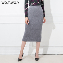 WOTWOY Autumn Winter Woolen Long Skirts Women Pencil Skirt High Waist 2017 Woman Office Mid-Calf Thick Skirt Jupe Vintage Femme