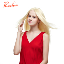 "Rechoo Straight Brazilian Machine Made Remy 100% Human Hair Blonde Color 613 Full Head Set Clip In Hair Extensions 16""18""22""24""""(China)"
