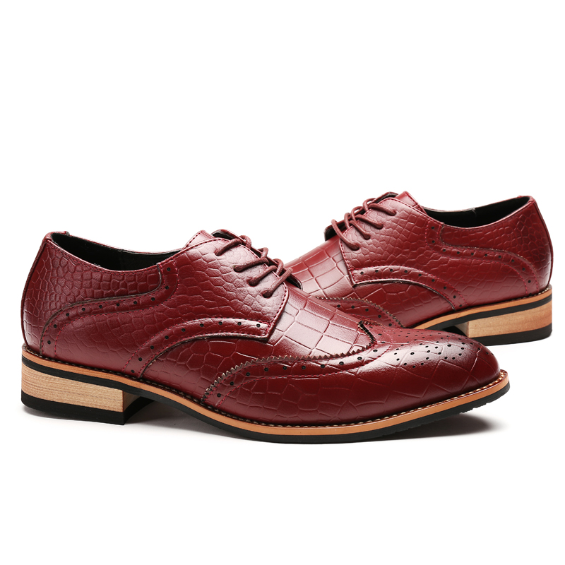 2017 Wingtips Designer Formal Wear Oxford Shoes For Men Full Brogues Wine Red Italian Shoes Men Dress Shoe Flats Male Mocassin<br>