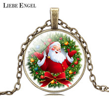 LIEBE ENGEL Christmas Gift Necklace Glass Cabochon Santa Claus Statement Chain Anime Necklace Vintage Bronze Jewelry Maxi 2017(China)