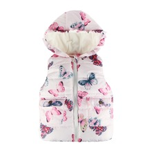 2017 High Quality Fashion Girls Winter Coat Butterfly Hooded Fleece Kids Waistcoat Autumn Baby Girl Vest Jacket Girls Clothes(China)
