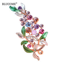Blucome Flower Brooches For Women Esmalte Enamel Broches Hijab Pins Austrian Crystal Decorative Garment Dress Accessories Pin