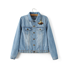 Women New Fashion Flower Birds Appliques Long Sleeves Notched Rivet Embellish Denim Jacket Casual Female Tops With Pockets N8193