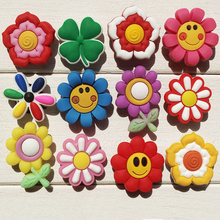 Novelty Cute 24PCS Small Flowers Smile Face PVC Shoe Charms Fit Bracelets Jibz Croc,Shoe Accessories Ornamnts,Kids Party Gifts(China)