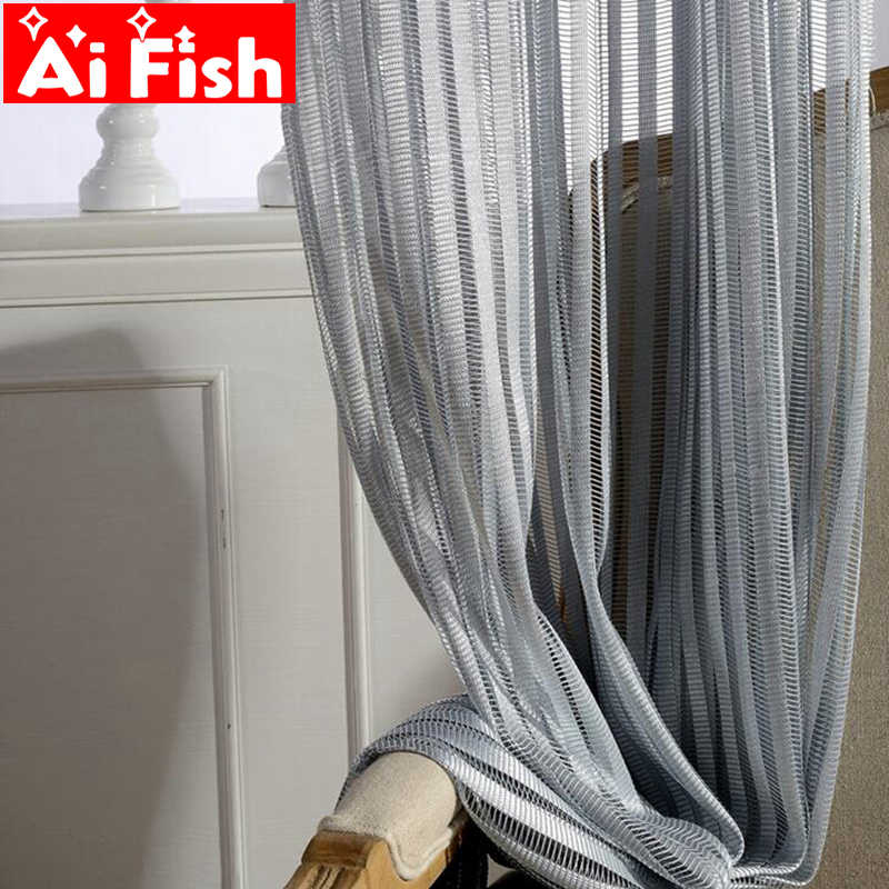 Modern Simple and Generous Mesh Curtain Fabrics Grey Stripe Tulle For Living Room Bedroom Window Screen Balcony Sheer wp097-30