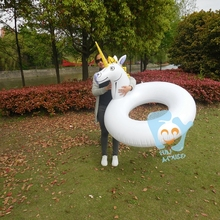 Dia 110cm Inflatable Unicorn Swimming Ring Inflatable Pool Float Air Mattress Pool Inflatable Toys Water Fun Raft(China)