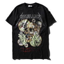 High quality black men hip hop rock music metallica t-shirt streetwear Skeleton Draw printing cotton male t shirt