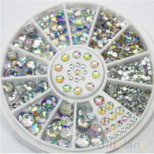 5 Sizes 400 Pcs Nail Art Tips Crystal Glitter Rhinestone 3D Nail Art Decoration+Wheel