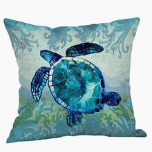ROUNCO Sea Turtle Printed Cotton Linen Cushion Cover Marine Ocean Sea Horse Home Decor Pillowcase Octopus Sofa Cushion Case